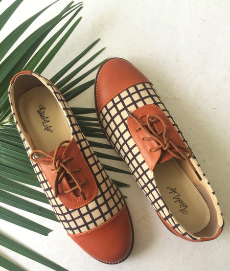Checkered Printed Vegan Oxfords