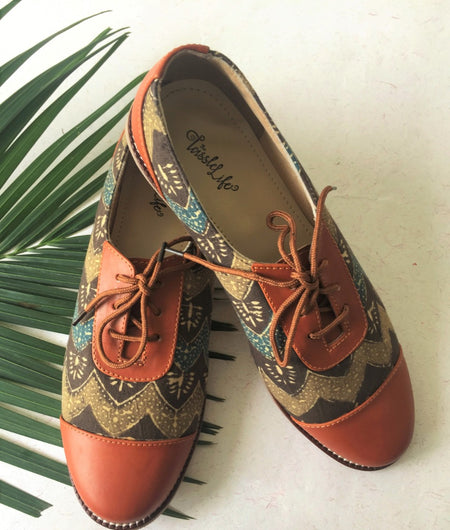 Zigzag Azrak Printed Vegan Oxfords