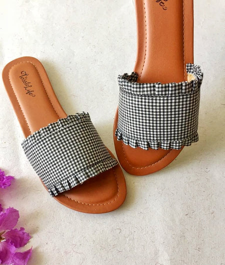 Black Gingham Ruffled Flats