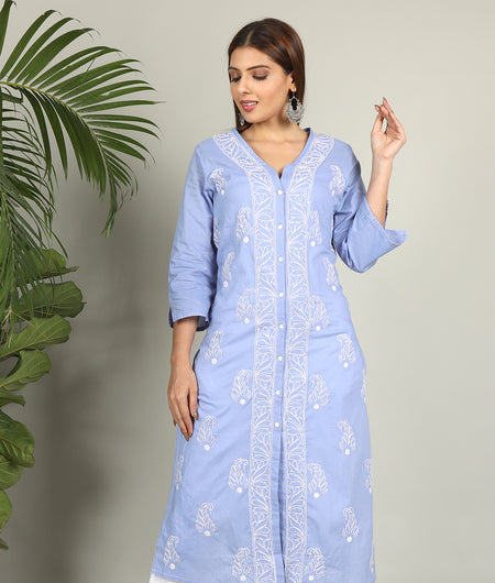 Powder Blue Chikankari Kurta