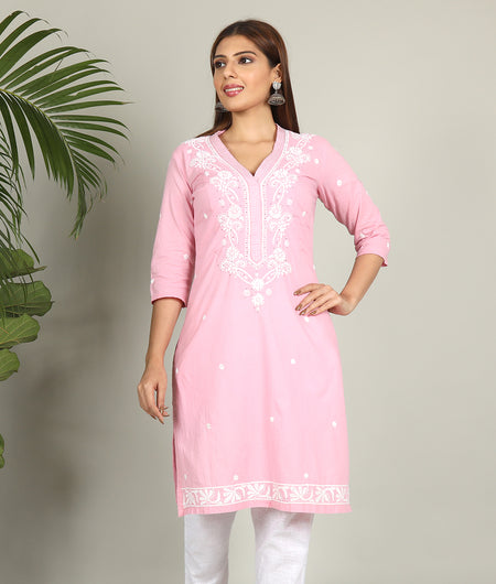 Light Pink Chikankari Kurta Pant Set