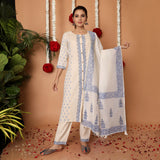 Blue and white Hand Block Cotton Flex Floral Kurta Pant and Dupatta