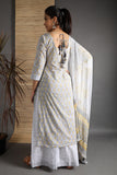 Hand Block Greyish White Cotton Kurta Pant Set With Dupatta