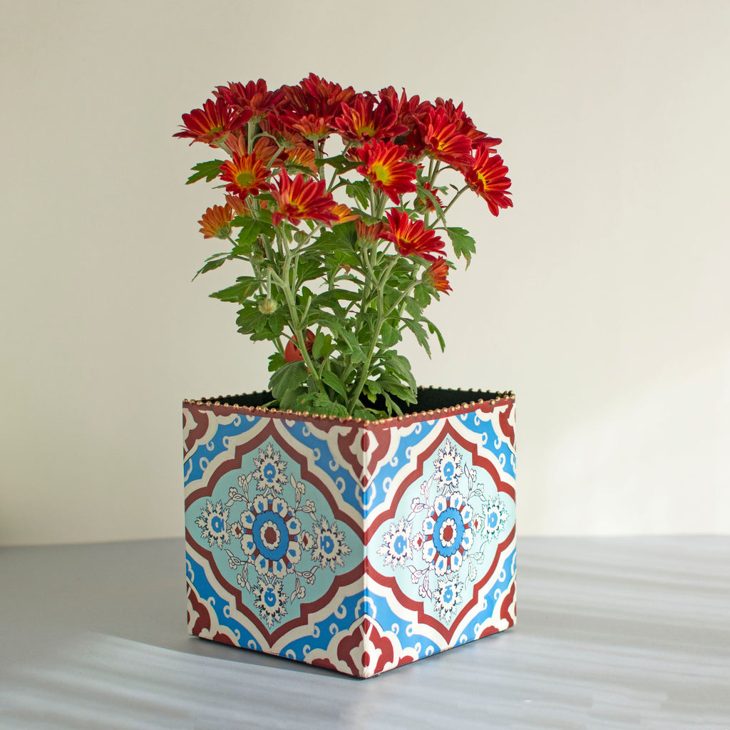 Inaya Handpainted Iron Planter