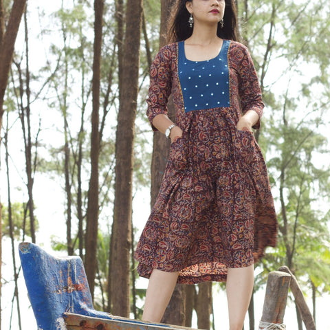 Kalamkari Mirror Yoke Dress