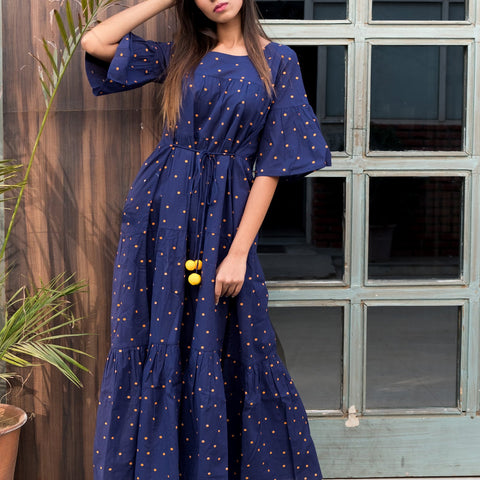Blue polka dot maxi dress with Hand Block Work