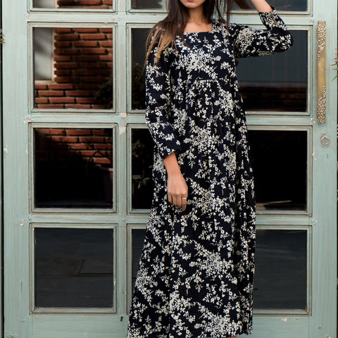 Black print maxi dress with Hand Block Work