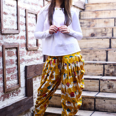 White Top with Yellow Dhoti pant with Hand Block Work