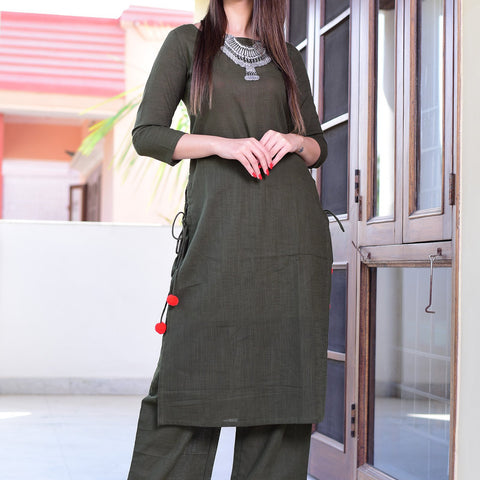 Green Cotton suit set with Hand Block Work