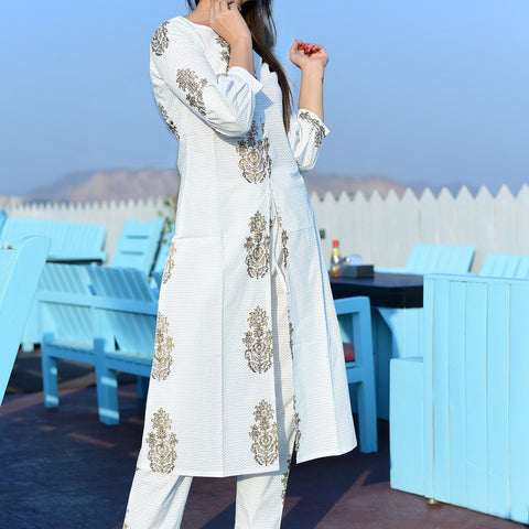 White dress with golden design with Hand Block Work