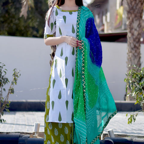 White Green Leaf Suit with Hand Block Work
