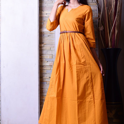 Mustard long dress with Hand Block Work
