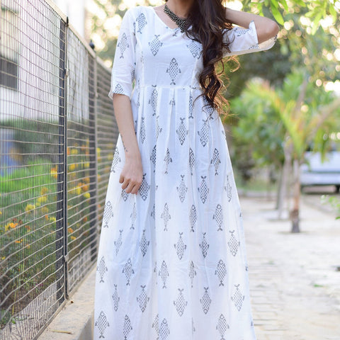Modern maxi dress with fish print with Hand Block Work