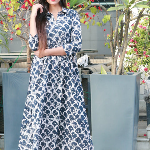 Maxi dress with blue discharge print with Hand Block Work