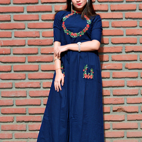 Navy blue maxi dress with embroidery with Hand Block Work