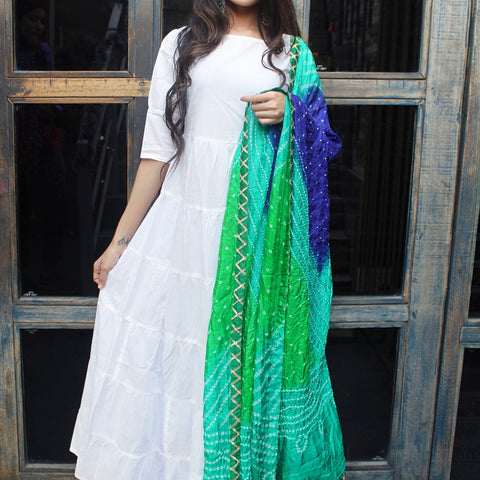 Beautiful white long kurti set with Hand Block Work