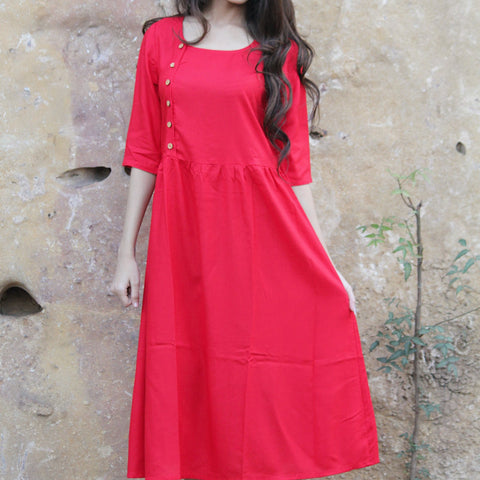 Short red dress with Hand Block Work