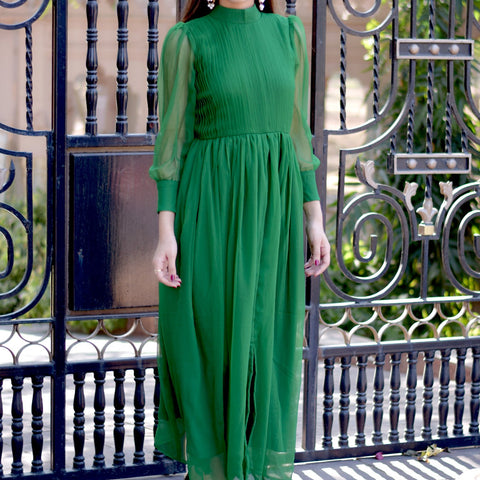 Exclusive green dress with Hand Block Work