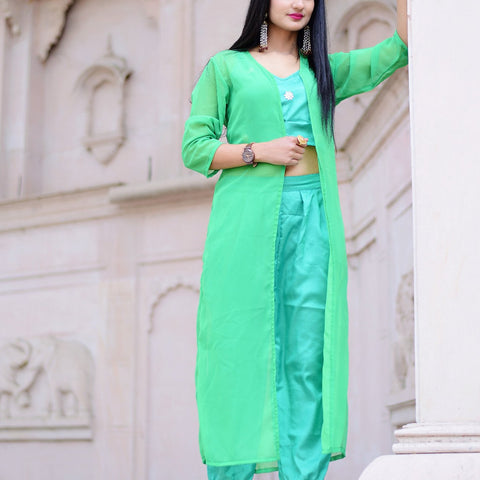 Spring green top and pant dress with Hand Block Work