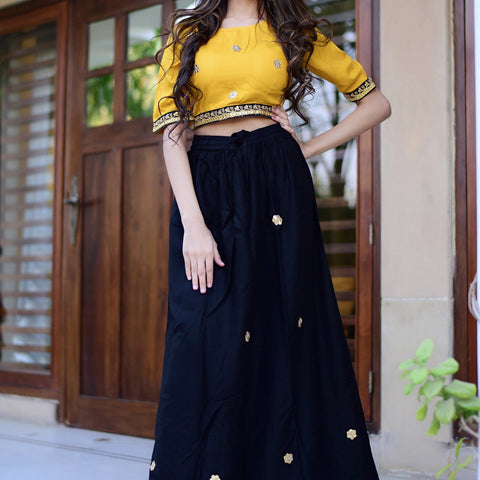 Yellow top with black skirt with Hand Block Work