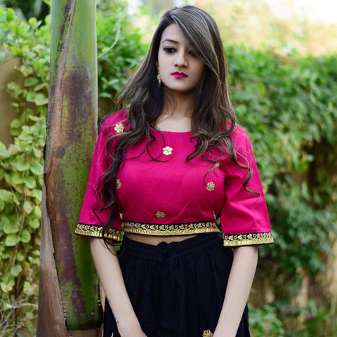 Pink top with black skirt with Hand Block Work