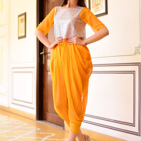 Exclusive yellow jumpsuit with Hand Block Work