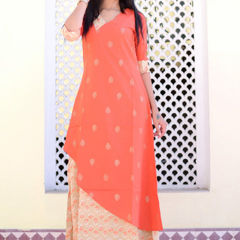 Beautiful orange double layered dress with Hand Block Work