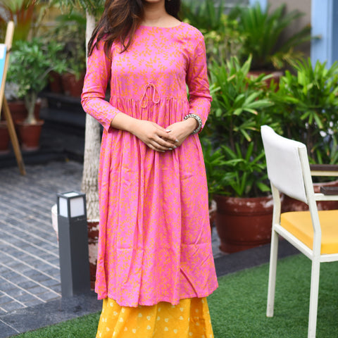 Ultra comfortable pink yellow dress with Hand Block Work