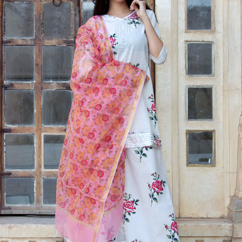 Pink Cotton Cambric Floral Kurta Sharara Set
