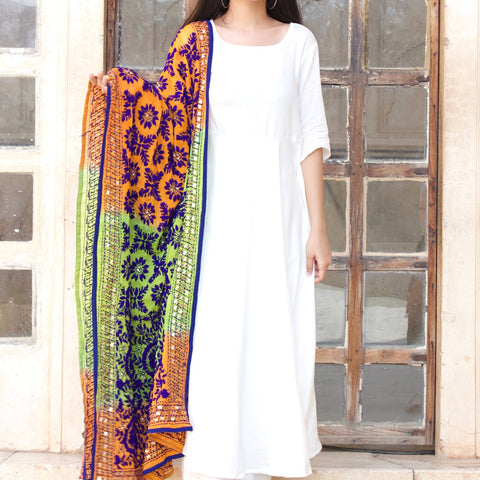 White Rayon Kurta Set With Multi Shaded Dupptta