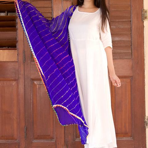 White Rayon Kurta Set With Blue Lehariya Shaded Dupatta