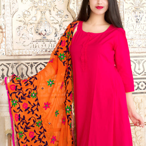 Pink Rayon Frill Kurta Set With Dupatta
