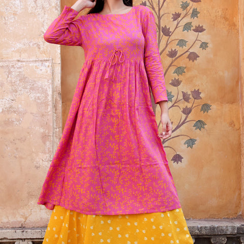 Pink Yellow Rayon Dress