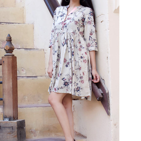 Off White Rayon Summer Floral Dress