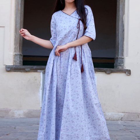Blue Cotton Floral Angrakha Dress