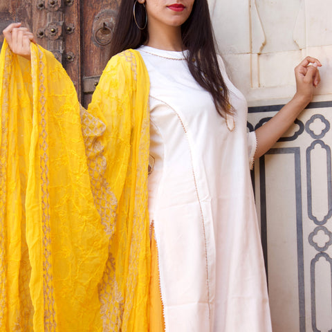 White Yellow Cotton Kurta Set With Karanchi Work Dupatta