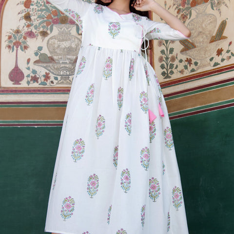 White Pink Cotton Big Butta Angrakha Dress