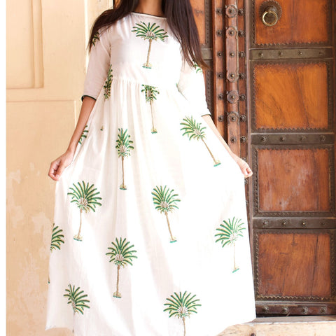 White Cotton Tree Print Maxi Dress