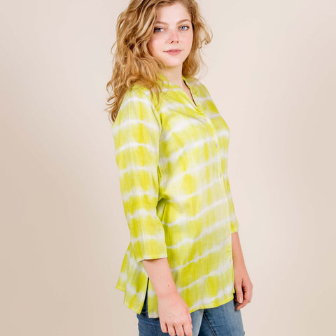 Lemon Tie And Dye Mandarin Short Kurti Top