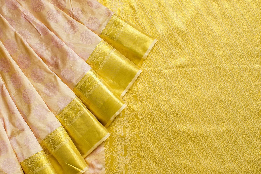 Kanjivaram Silk Zari Work Cream Saree