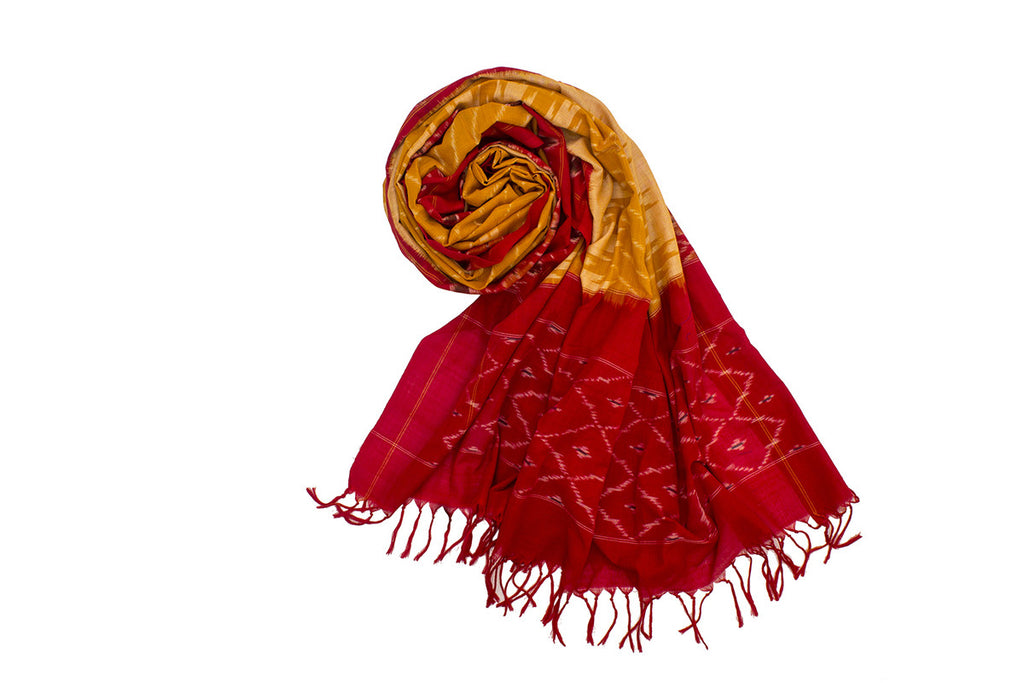 Pochampally Ikkat Cotton Dupatta in Yellow and Red