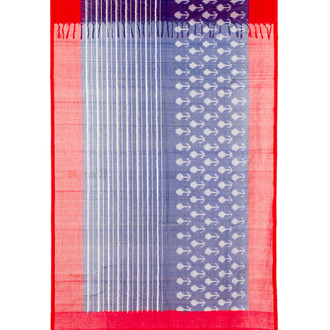 Pochampally Ikkat Cotton Dupatta in Blue and Red
