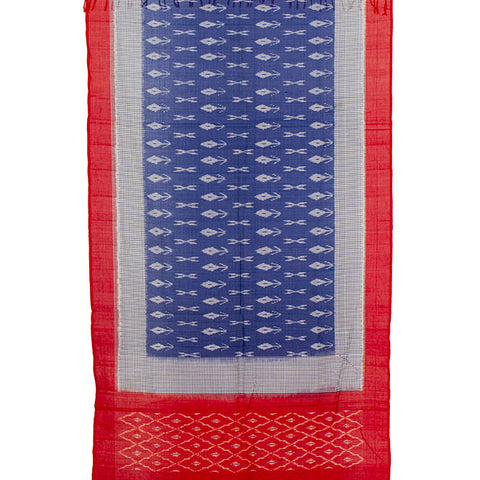 Pochampally Ikkat Cotton Dupatta in Blue Body with red Border