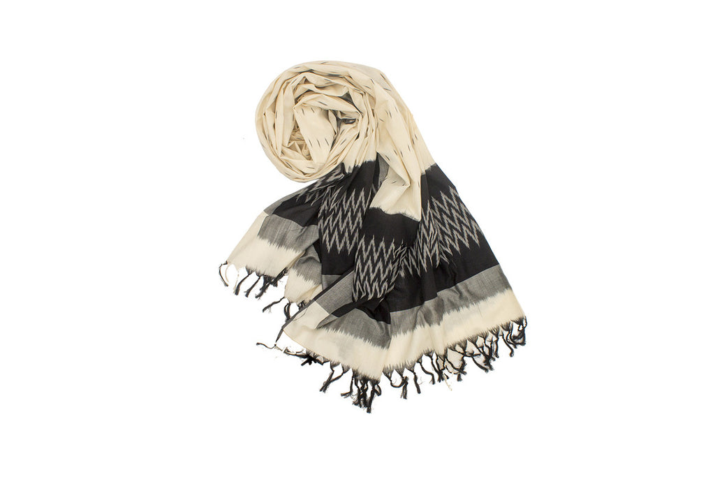 Pochampally Ikkat Cotton Dupatta in Cream and Black