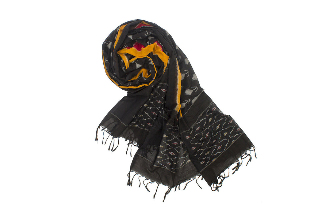 Pochampally Ikkat Cotton Dupatta in Black body with Yellow and Red Stripes