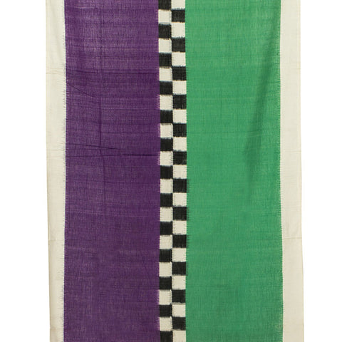 Pochampally Ikkat Cotton Dupatta in Purple and Green