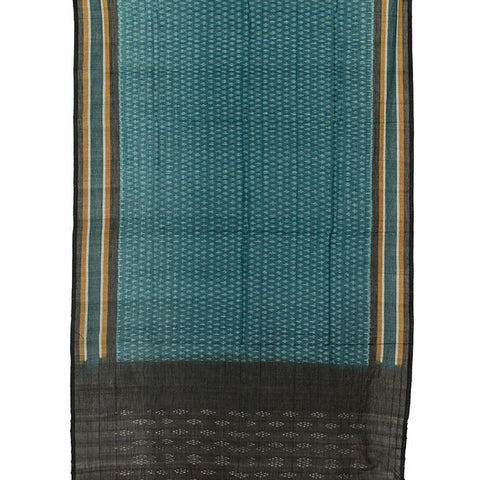 Pochampally Ikkat Cotton Dupatta in Turquoise and Black