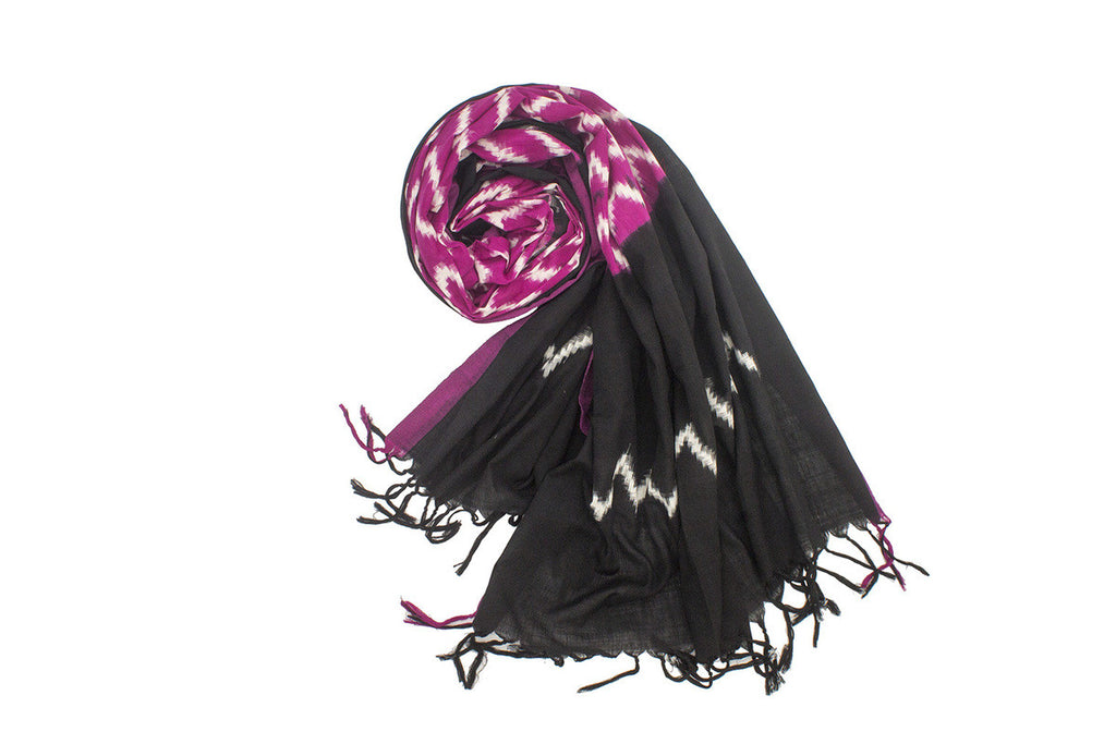 Pochampally Ikkat Cotton Dupatta in Red and Black