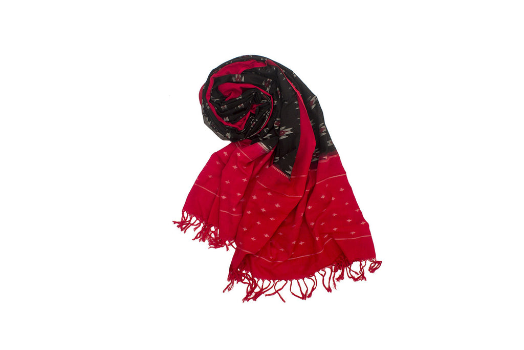 Pochampally Ikkat Cotton Dupatta in Black with Red border