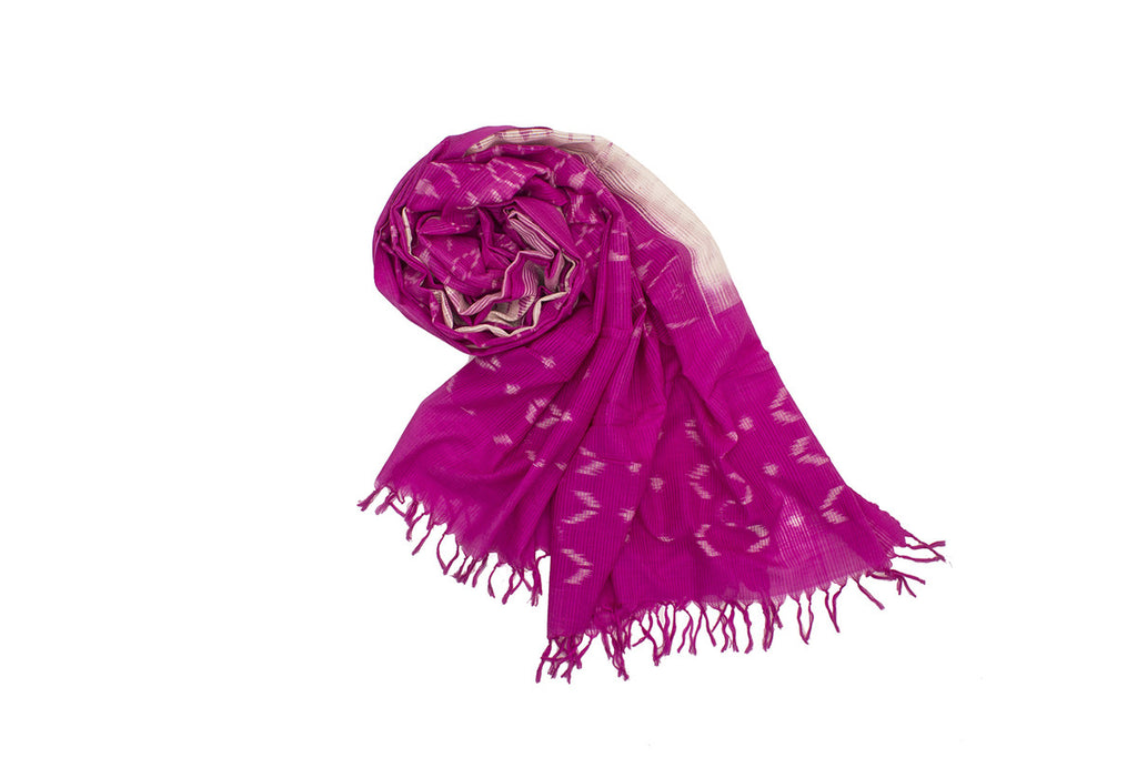 Pochampally Ikkat Cotton Dupatta in Pink and White